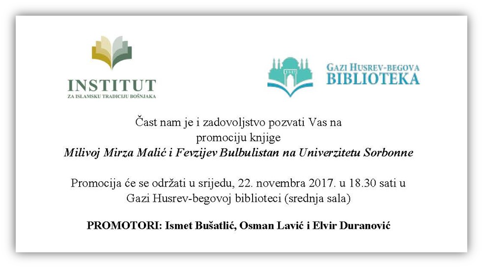 """Promocija knjige """"Milivoj Mirza Malić i Fevzijev Bulbulistan na Univerzitetu Sorbonne"""""""